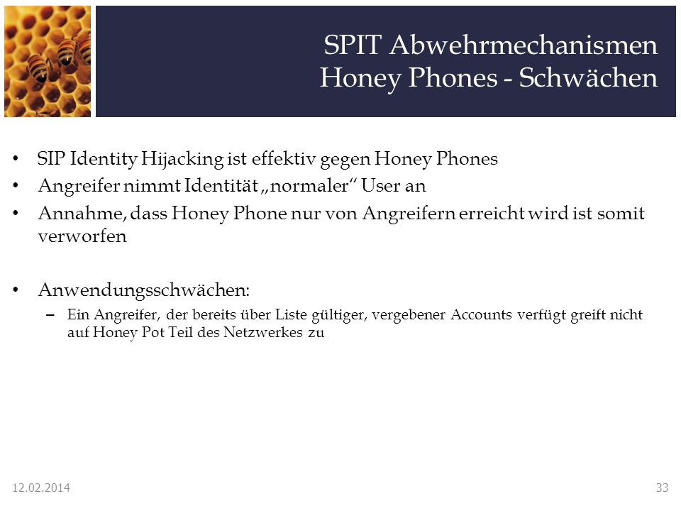 SPIT Abwehrmechanismen Honey Phones - Schwächen SIP Identity Hijacking ist effektiv gegen Honey Phones Angreifer nimmt Identität normaler User an Anna