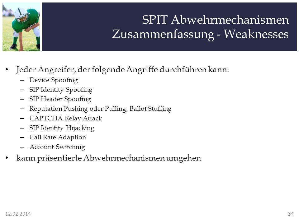 SPIT Abwehrmechanismen Zusammenfassung - Weaknesses Jeder Angreifer, der folgende Angriffe durchführen kann: – Device Spoofing – SIP Identity Spoofing