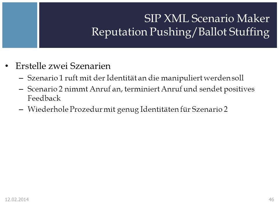 SIP XML Scenario Maker Reputation Pushing/Ballot Stuffing Erstelle zwei Szenarien – Szenario 1 ruft mit der Identität an die manipuliert werden soll – Scenario 2 nimmt Anruf an, terminiert Anruf und sendet positives Feedback – Wiederhole Prozedur mit genug Identitäten für Szenario 2 12.02.201446