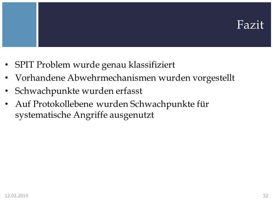Fazit SPIT Problem wurde genau klassifiziert Vorhandene Abwehrmechanismen wurden vorgestellt Schwachpunkte wurden erfasst Auf Protokollebene wurden Schwachpunkte für systematische Angriffe ausgenutzt 12.02.201452