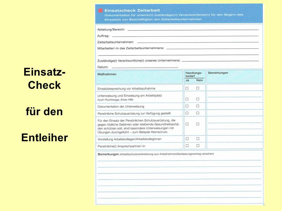 Einsatz- Check für den Entleiher