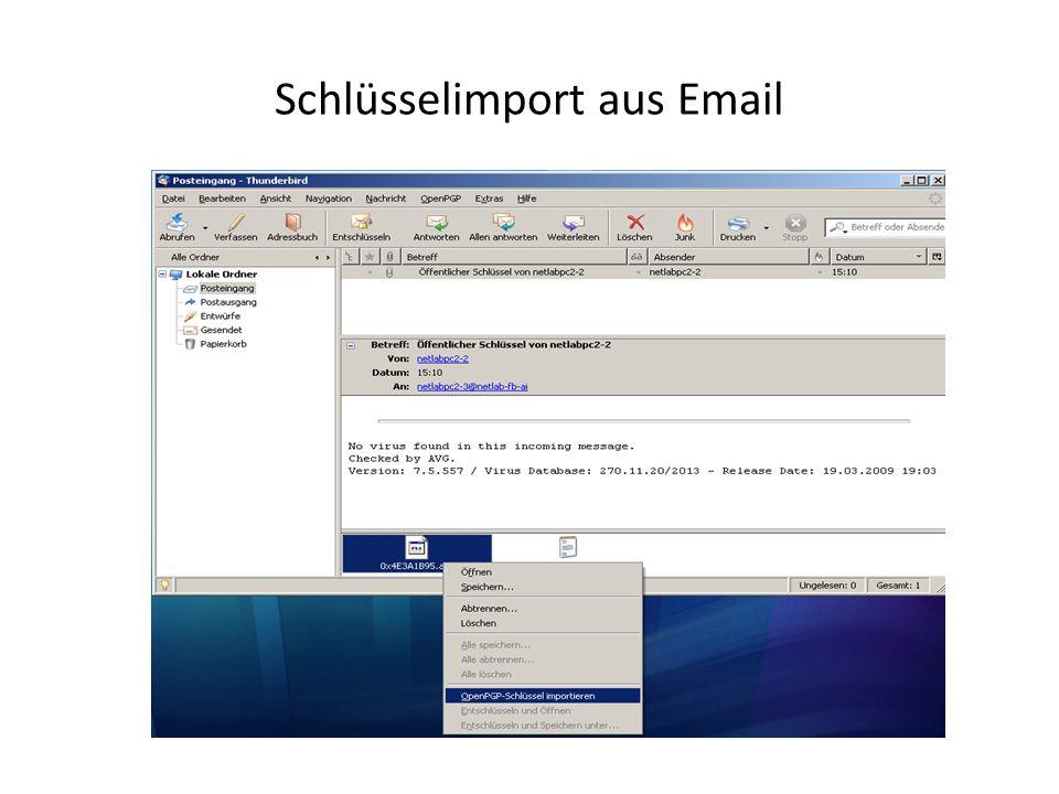 Schlüsselimport aus Email
