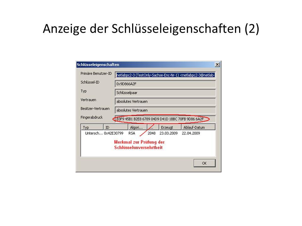 Anzeige der Schlüsseleigenschaften (2)