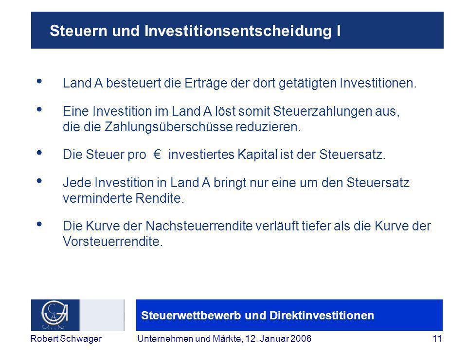 Steuerwettbewerb und Direktinvestitionen 11Robert SchwagerUnternehmen und Märkte, 12.