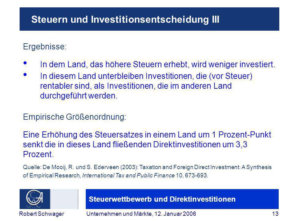 Steuerwettbewerb und Direktinvestitionen 13Robert SchwagerUnternehmen und Märkte, 12.