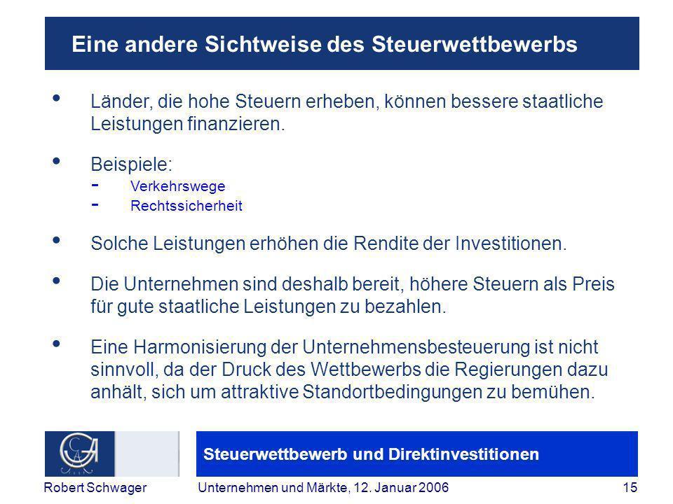 Steuerwettbewerb und Direktinvestitionen 15Robert SchwagerUnternehmen und Märkte, 12.