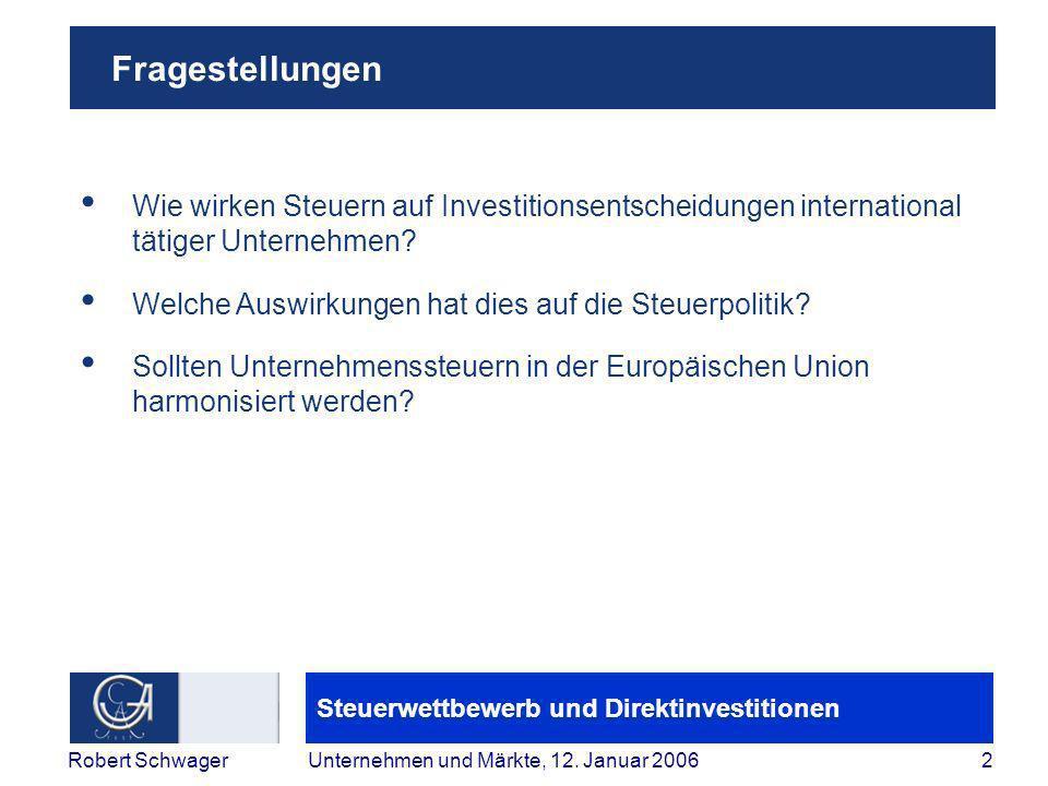 Steuerwettbewerb und Direktinvestitionen 2Robert SchwagerUnternehmen und Märkte, 12.