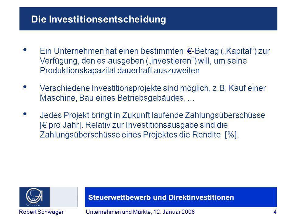 Steuerwettbewerb und Direktinvestitionen 4Robert SchwagerUnternehmen und Märkte, 12.