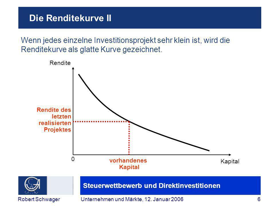 Steuerwettbewerb und Direktinvestitionen 7Robert SchwagerUnternehmen und Märkte, 12.