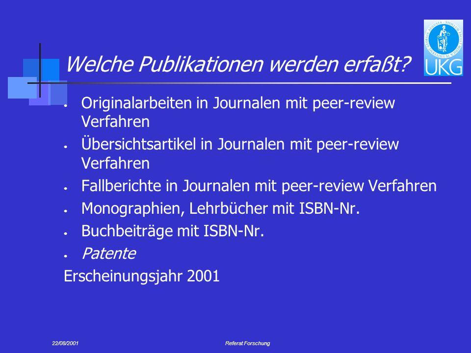 22/08/2001Referat Forschung Welche Publikationen werden erfaßt.