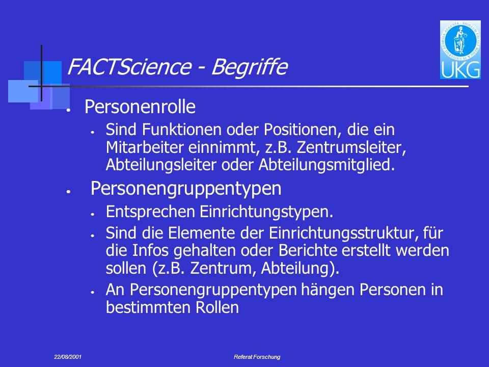 22/08/2001Referat Forschung FACTScience - Begriffe Personenrolle Sind Funktionen oder Positionen, die ein Mitarbeiter einnimmt, z.B.