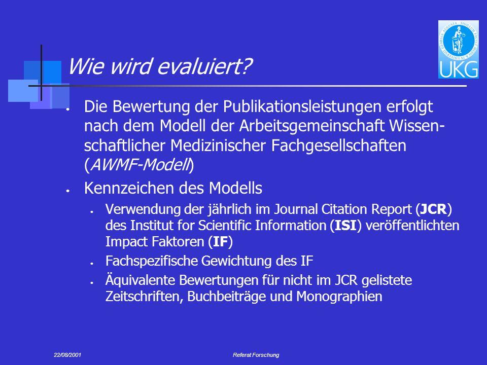 22/08/2001Referat Forschung Wie wird evaluiert.