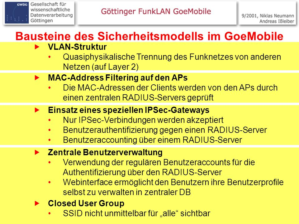 18 Bausteine des Sicherheitsmodells im GoeMobile VLAN-Struktur Quasiphysikalische Trennung des Funknetzes von anderen Netzen (auf Layer 2) MAC-Address