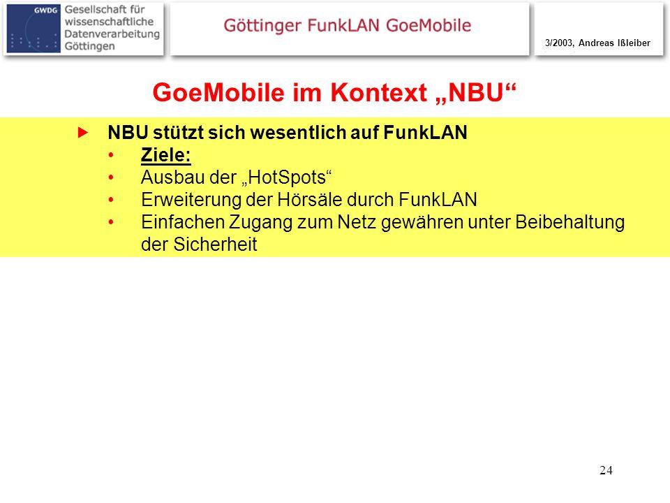 24 GoeMobile im Kontext NBU NBU stützt sich wesentlich auf FunkLAN Ziele: Ausbau der HotSpots Erweiterung der Hörsäle durch FunkLAN Einfachen Zugang z
