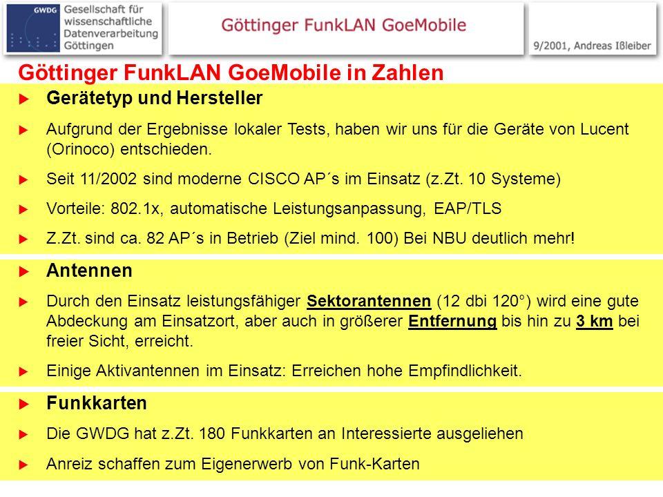 4 Göttinger FunkLAN GoeMobile in Zahlen Gerätetyp und Hersteller Aufgrund der Ergebnisse lokaler Tests, haben wir uns für die Geräte von Lucent (Orino