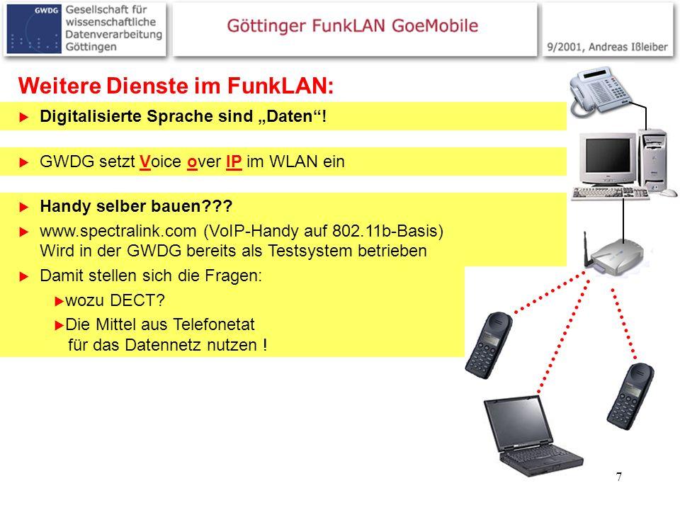 7 Weitere Dienste im FunkLAN: Digitalisierte Sprache sind Daten! GWDG setzt Voice over IP im WLAN ein Handy selber bauen??? www.spectralink.com (VoIP-