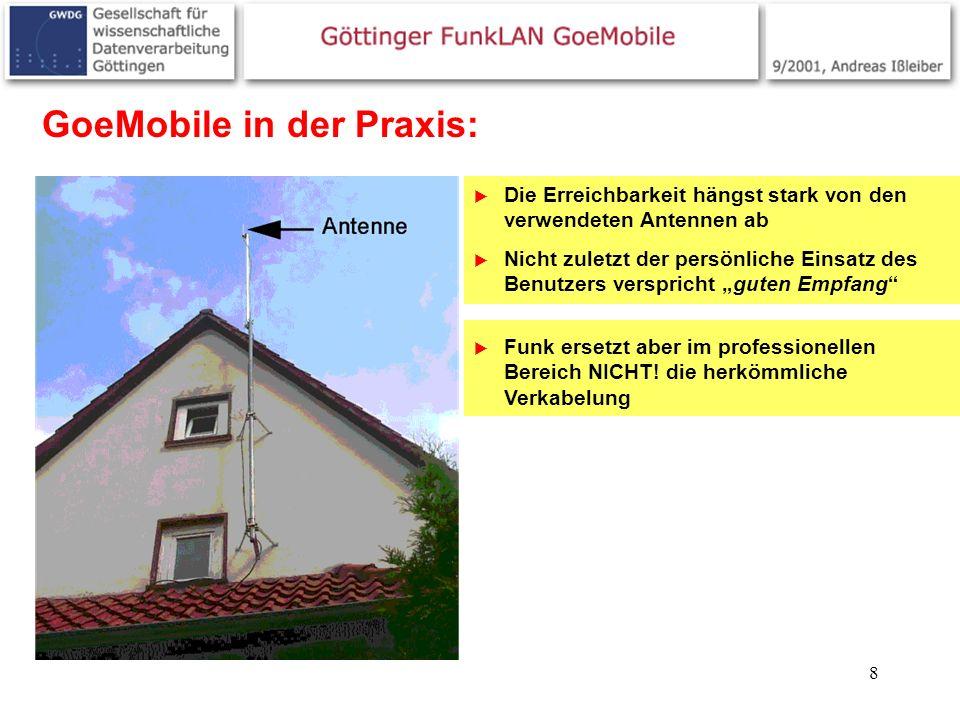 8 GoeMobile in der Praxis: Die Erreichbarkeit hängst stark von den verwendeten Antennen ab Nicht zuletzt der persönliche Einsatz des Benutzers verspri