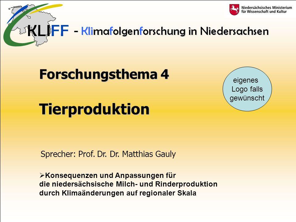 Forschungsthema 4 Tierproduktion Konsequenzen und Anpassungen für die niedersächsische Milch- und Rinderproduktion durch Klimaänderungen auf regionaler Skala eigenes Logo falls gewünscht Sprecher: Prof.