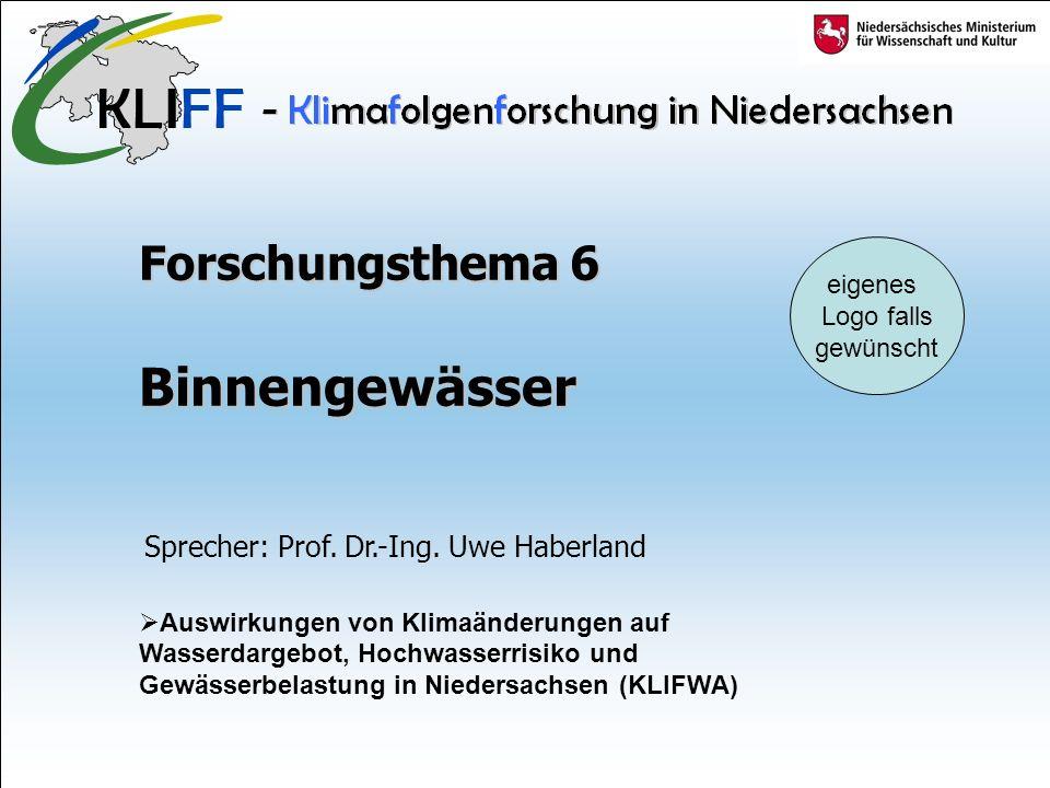 Forschungsthema 6 Binnengewässer Auswirkungen von Klimaänderungen auf Wasserdargebot, Hochwasserrisiko und Gewässerbelastung in Niedersachsen (KLIFWA) Sprecher: Prof.