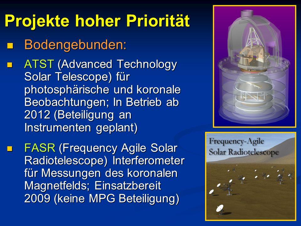 Bodengebunden: Bodengebunden: ATST (Advanced Technology Solar Telescope) für photosphärische und koronale Beobachtungen; In Betrieb ab 2012 (Beteiligu