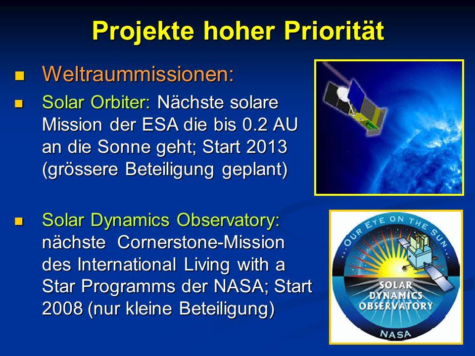 Projekte hoher Priorität Weltraummissionen: Weltraummissionen: Solar Orbiter: Nächste solare Mission der ESA die bis 0.2 AU an die Sonne geht; Start 2