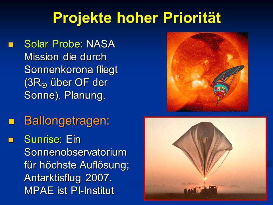 Projekte hoher Priorität Solar Probe: NASA Mission die durch Sonnenkorona fliegt (3R über OF der Sonne). Planung. Solar Probe: NASA Mission die durch