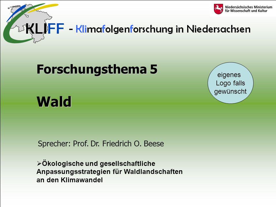 Forschungsthema 5 Wald Ökologische und gesellschaftliche Anpassungsstrategien für Waldlandschaften an den Klimawandel Sprecher: Prof.