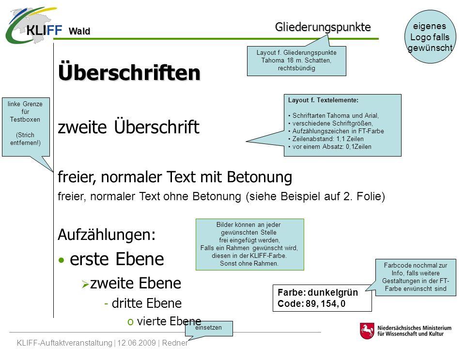 Wald KLIFF-Auftaktveranstaltung | 12.06.2009 | Redner eigenes Logo falls gewünscht einsetzen Gliederungspunkte Überschriften zweite Überschrift freier, normaler Text mit Betonung freier, normaler Text ohne Betonung (siehe Beispiel auf 2.