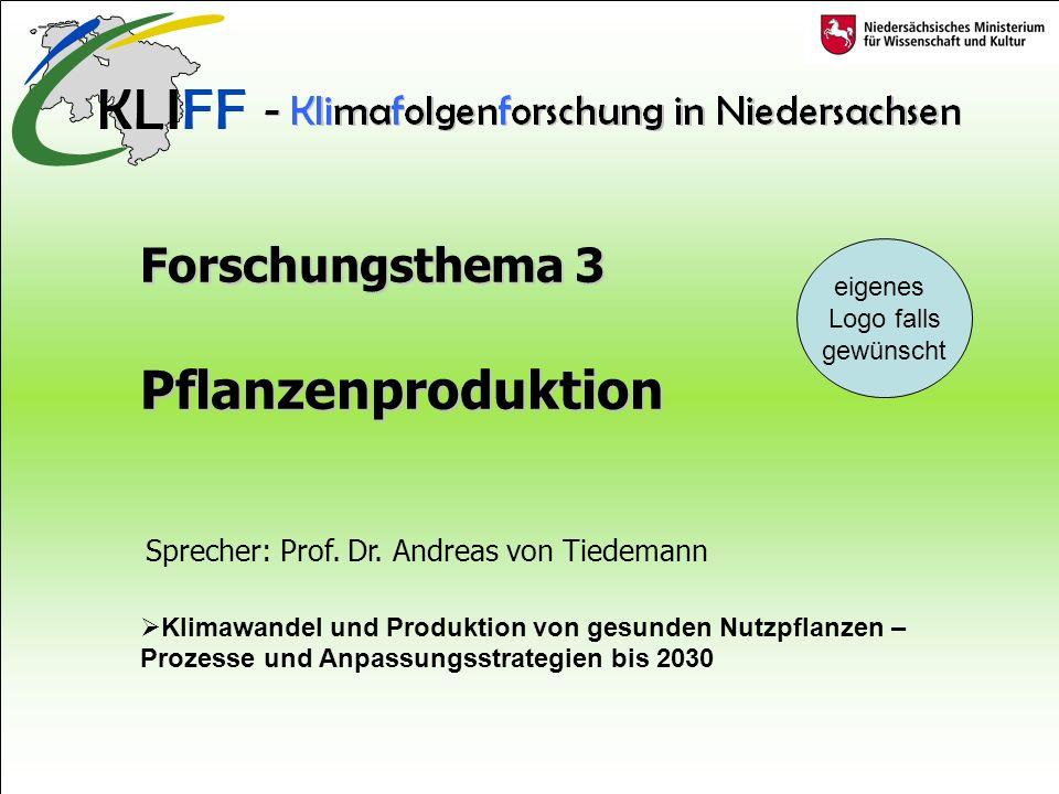 Forschungsthema 3 Pflanzenproduktion Klimawandel und Produktion von gesunden Nutzpflanzen – Prozesse und Anpassungsstrategien bis 2030 eigenes Logo falls gewünscht Sprecher: Prof.