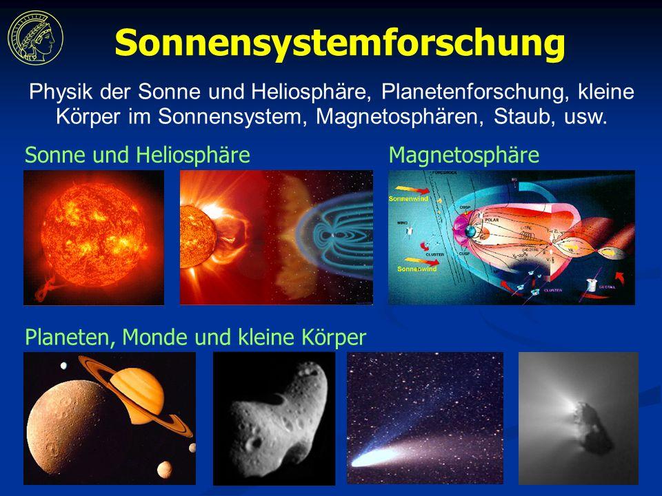 Planeten, Monde und kleine Körper Sonne und HeliosphäreMagnetosphäre Sonnensystemforschung Physik der Sonne und Heliosphäre, Planetenforschung, kleine Körper im Sonnensystem, Magnetosphären, Staub, usw.