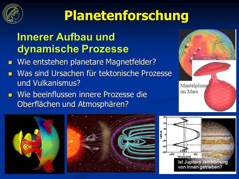 Planetenforschung Innerer Aufbau und dynamische Prozesse Innerer Aufbau und dynamische Prozesse Wie entstehen planetare Magnetfelder.