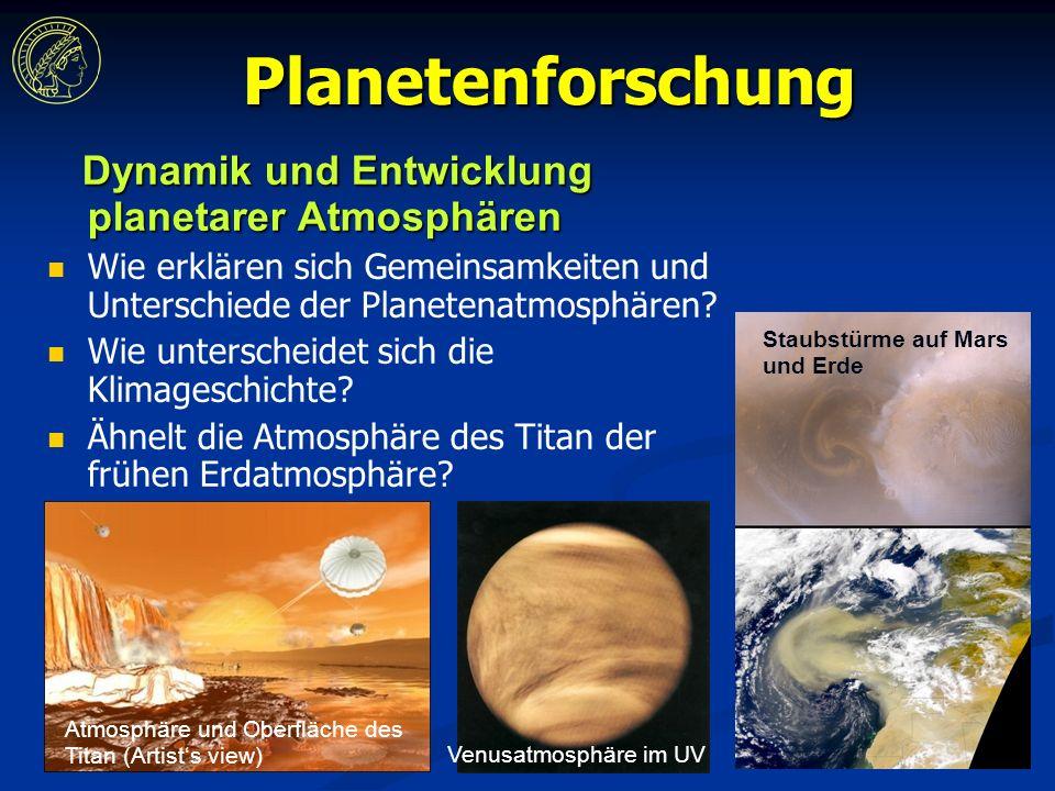 Planetenforschung Dynamik und Entwicklung planetarer Atmosphären Dynamik und Entwicklung planetarer Atmosphären Wie erklären sich Gemeinsamkeiten und Unterschiede der Planetenatmosphären.