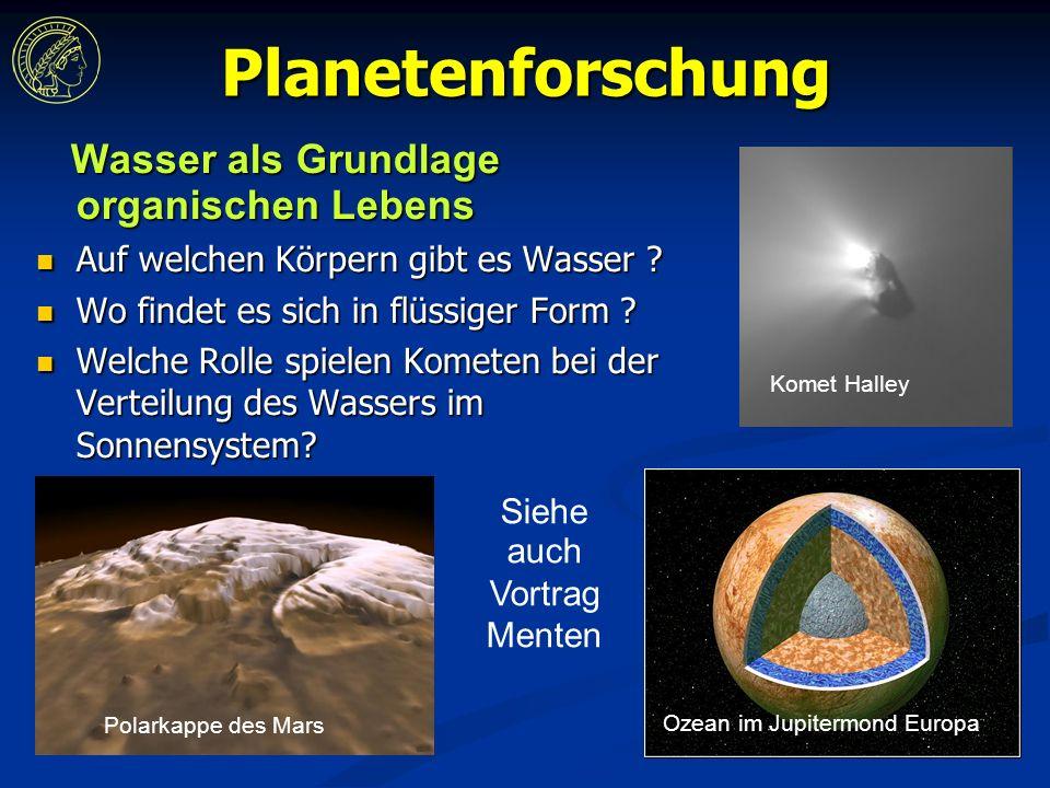 Planetenforschung Wasser als Grundlage organischen Lebens Wasser als Grundlage organischen Lebens Auf welchen Körpern gibt es Wasser .