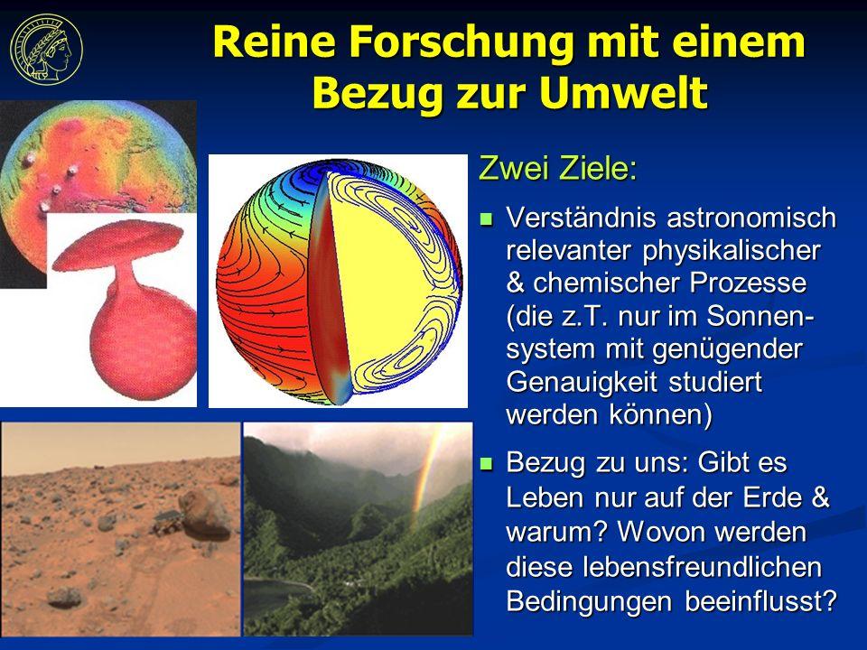 Reine Forschung mit einem Bezug zur Umwelt Zwei Ziele: Verständnis astronomisch relevanter physikalischer & chemischer Prozesse (die z.T.