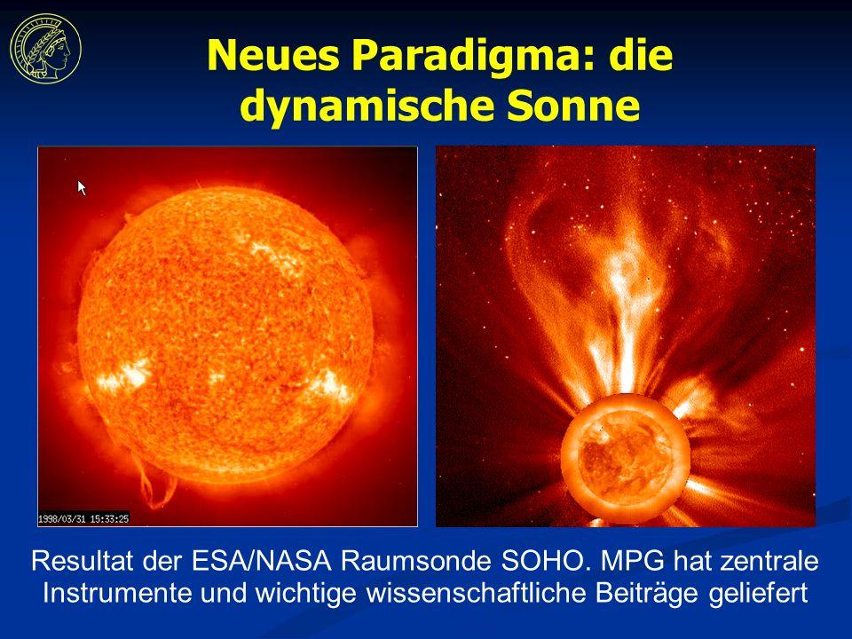Neues Paradigma: die dynamische Sonne Resultat der ESA/NASA Raumsonde SOHO.