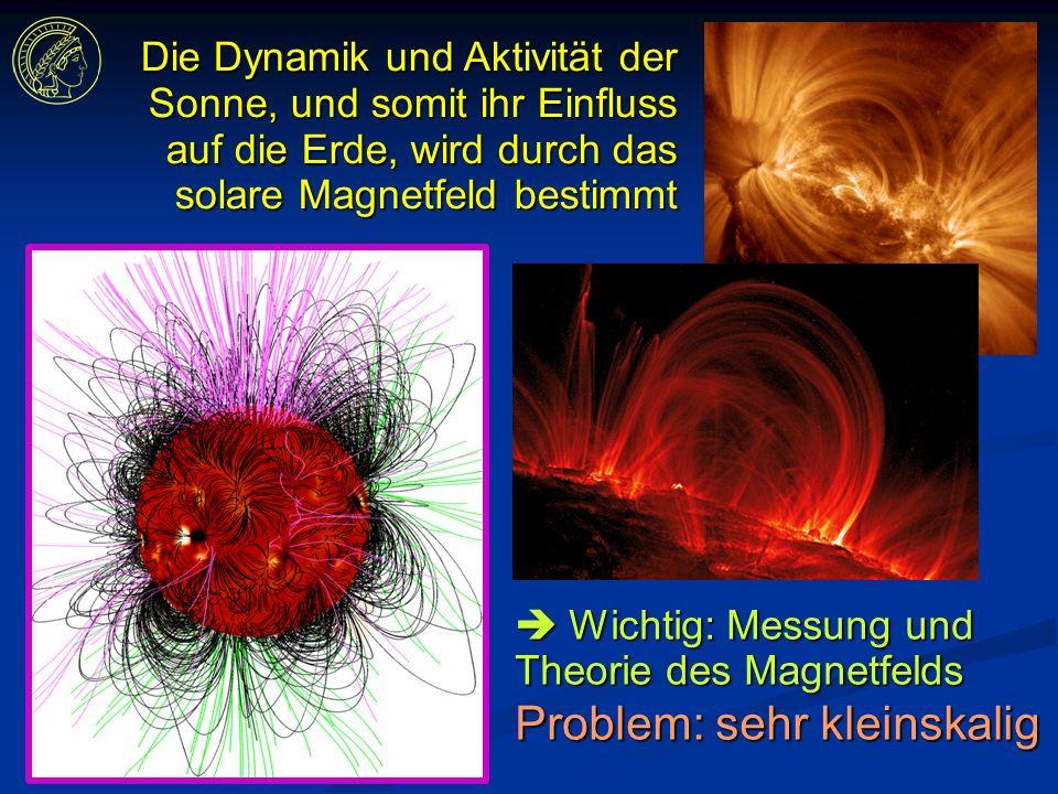 Die Dynamik und Aktivität der Sonne, und somit ihr Einfluss auf die Erde, wird durch das solare Magnetfeld bestimmt Wichtig: Messung und Theorie des Magnetfelds Wichtig: Messung und Theorie des Magnetfelds Problem: sehr kleinskalig