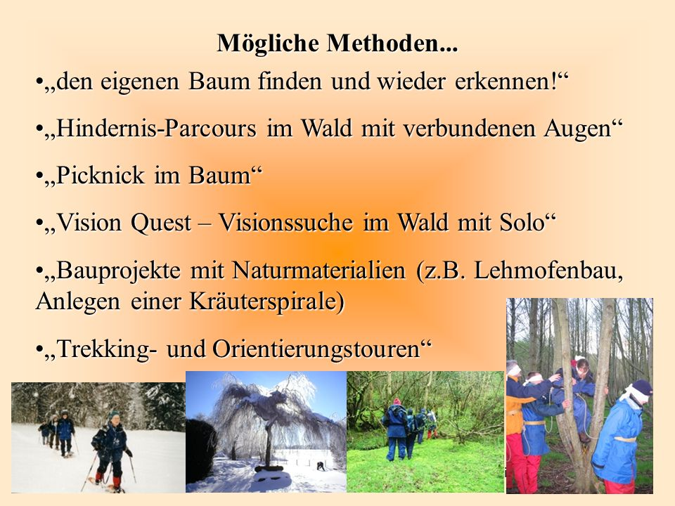 OiMi e.V. September 2005 Mögliche Methoden... den eigenen Baum finden und wieder erkennen!den eigenen Baum finden und wieder erkennen! Hindernis-Parco