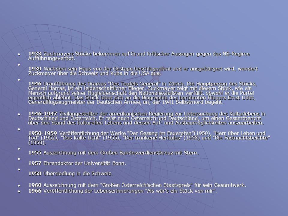 1933 Zuckmayers Stücke bekommen auf Grund kritischer Aussagen gegen das NS-Regime Aufführungsverbot. 1933 Zuckmayers Stücke bekommen auf Grund kritisc