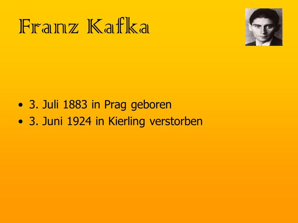 Grunddaten von 1889 bis 1893 besuchte Kafka die Deutsche Knabenschule und danach an das humanistische Staatsgymnasium in Prag studierte anfangs Chemie, wechselte dann in die Juristische Richtung machte nach seinem Studium ein einjähriges, freiwilliges Praktikum nach dem Praktikum wurde er Beamter, wo er als Sekretär zuständig und insgesamt 4 mal befördert wurde