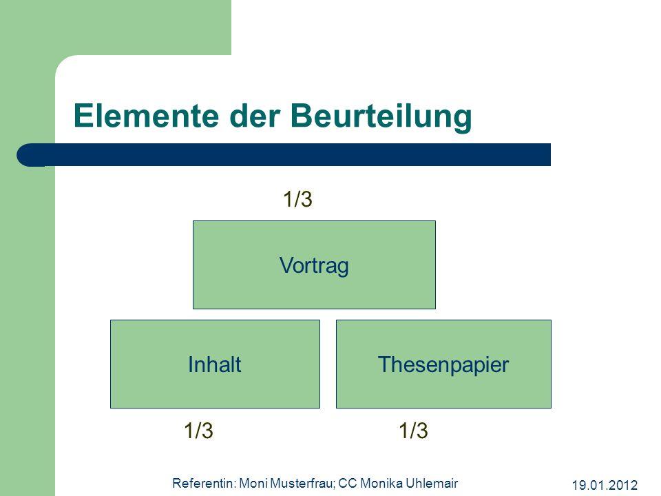 19.01.2012 Referentin: Moni Musterfrau; CC Monika Uhlemair Elemente der Beurteilung InhaltThesenpapier Vortrag 1/3