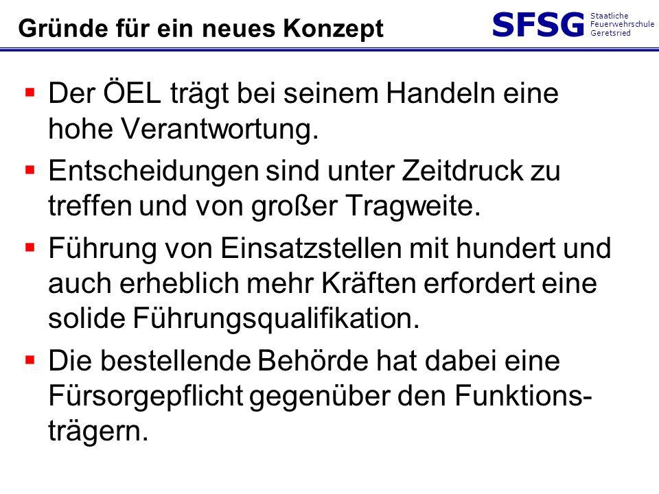 SFSG Staatliche Feuerwehrschule Geretsried Gründe für ein neues Konzept Der ÖEL trägt bei seinem Handeln eine hohe Verantwortung. Entscheidungen sind