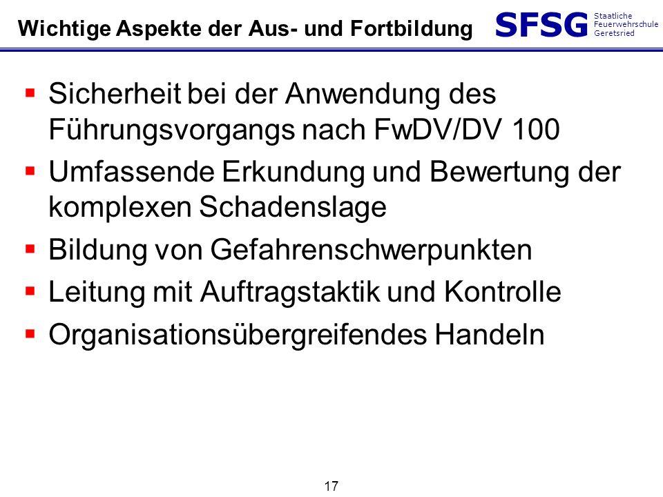 SFSG Staatliche Feuerwehrschule Geretsried 17 Wichtige Aspekte der Aus- und Fortbildung Sicherheit bei der Anwendung des Führungsvorgangs nach FwDV/DV