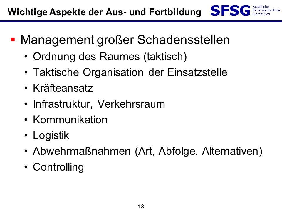 SFSG Staatliche Feuerwehrschule Geretsried 18 Wichtige Aspekte der Aus- und Fortbildung Management großer Schadensstellen Ordnung des Raumes (taktisch