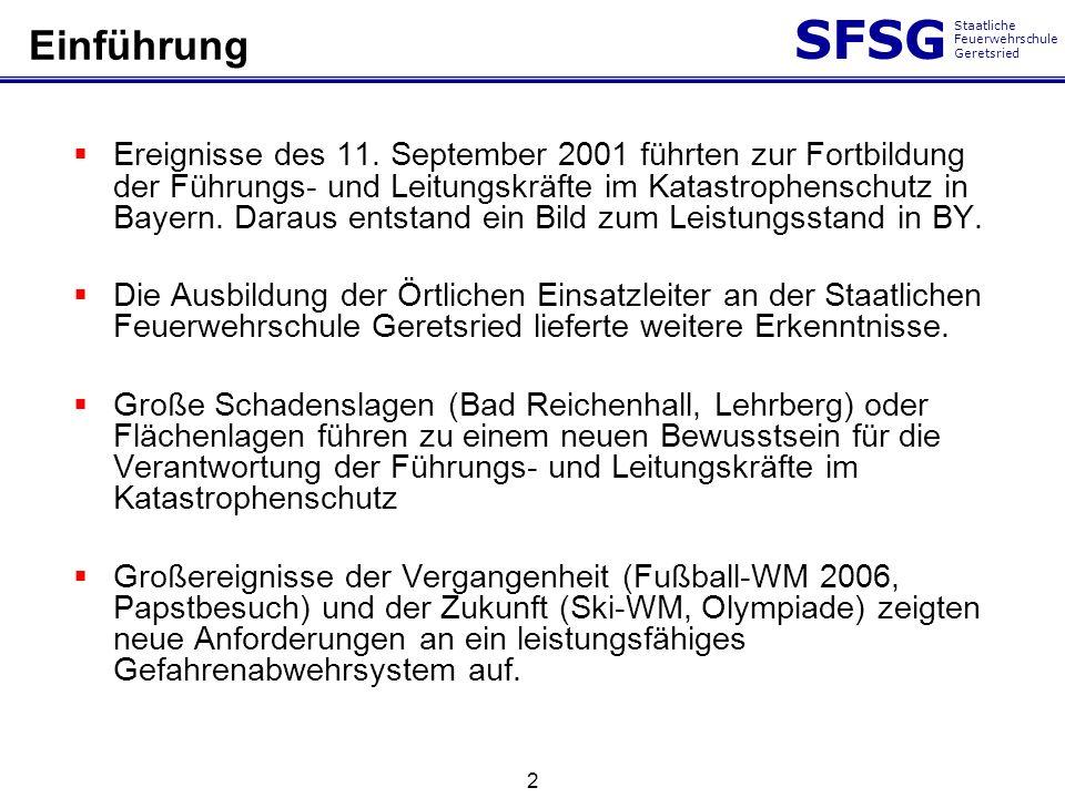 SFSG Staatliche Feuerwehrschule Geretsried 2 Ereignisse des 11. September 2001 führten zur Fortbildung der Führungs- und Leitungskräfte im Katastrophe