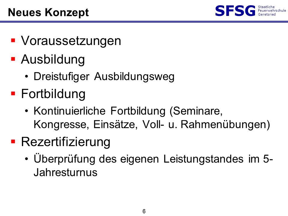 SFSG Staatliche Feuerwehrschule Geretsried 6 Neues Konzept Voraussetzungen Ausbildung Dreistufiger Ausbildungsweg Fortbildung Kontinuierliche Fortbild