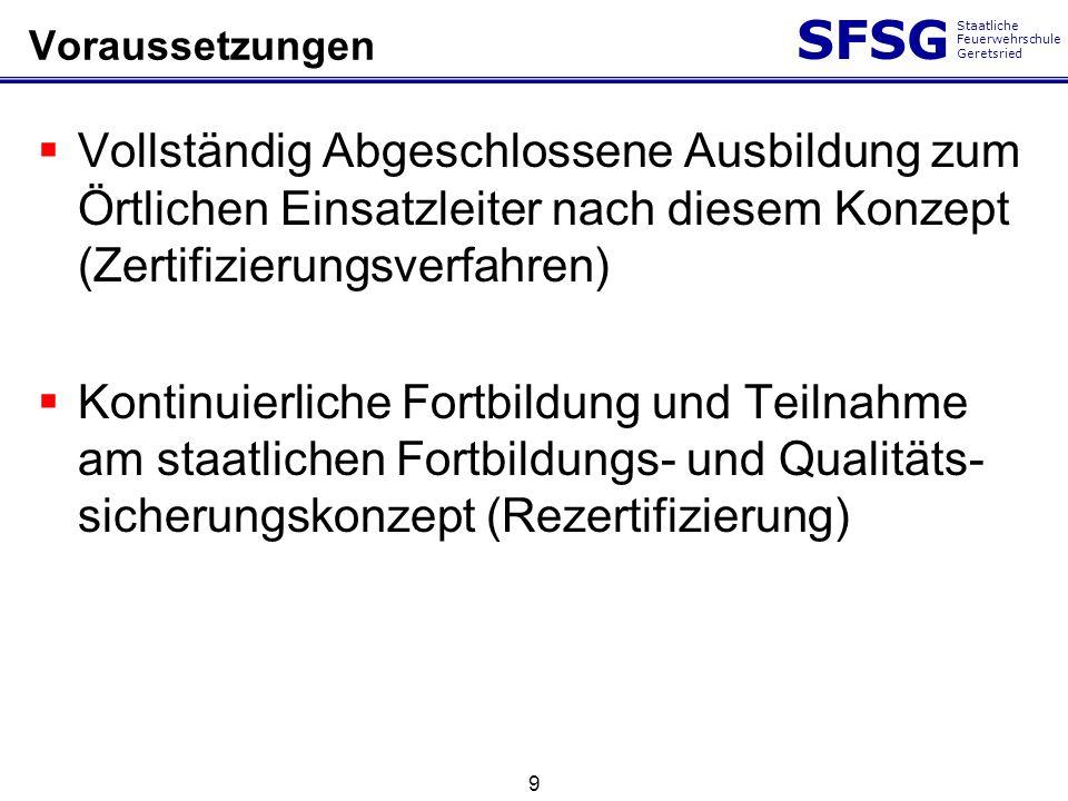 SFSG Staatliche Feuerwehrschule Geretsried 9 Voraussetzungen Vollständig Abgeschlossene Ausbildung zum Örtlichen Einsatzleiter nach diesem Konzept (Ze