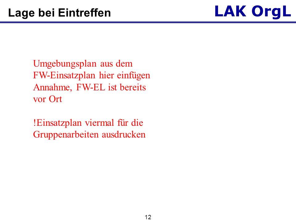 LAK OrgL 13 Gruppenarbeit Wie gliedern Sie den Einsatzraum jetzt aus rettungsdienstlicher Sicht.