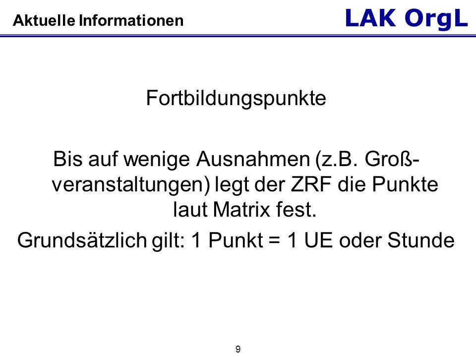 LAK OrgL 9 Aktuelle Informationen Fortbildungspunkte Bis auf wenige Ausnahmen (z.B. Groß- veranstaltungen) legt der ZRF die Punkte laut Matrix fest. G