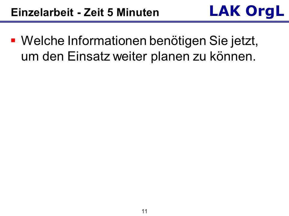 LAK OrgL 11 Einzelarbeit - Zeit 5 Minuten Welche Informationen benötigen Sie jetzt, um den Einsatz weiter planen zu können.