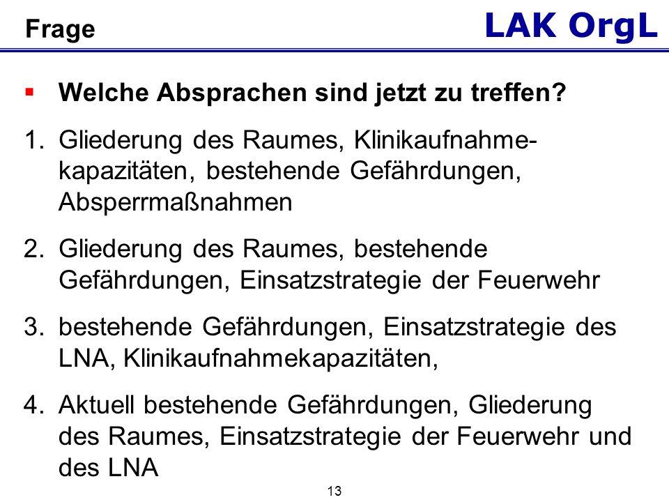 LAK OrgL 13 Frage Welche Absprachen sind jetzt zu treffen.